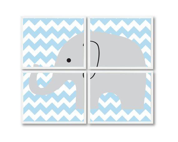 Baby Boy Elephant Nursery Art Print Set-Four-8x10-Chevron-Kids Room-Nursery-Home Decor-Light Blue, Grey OR Choose Colors-Zoo Animal Wal Art on Etsy, $52.00