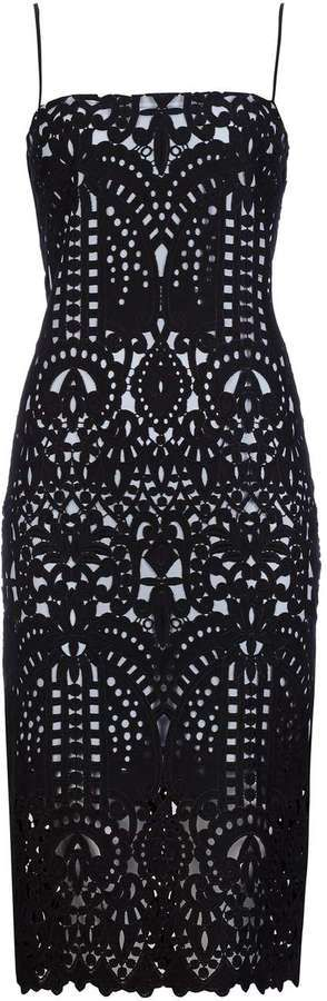This detailed cut work black lace dress from Sapphire for Wallis stands out from the average LBD.