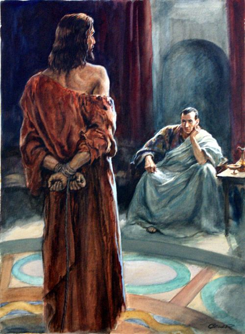 Jesus and Pontius Pilate by  Henry Coller for Bible illustration