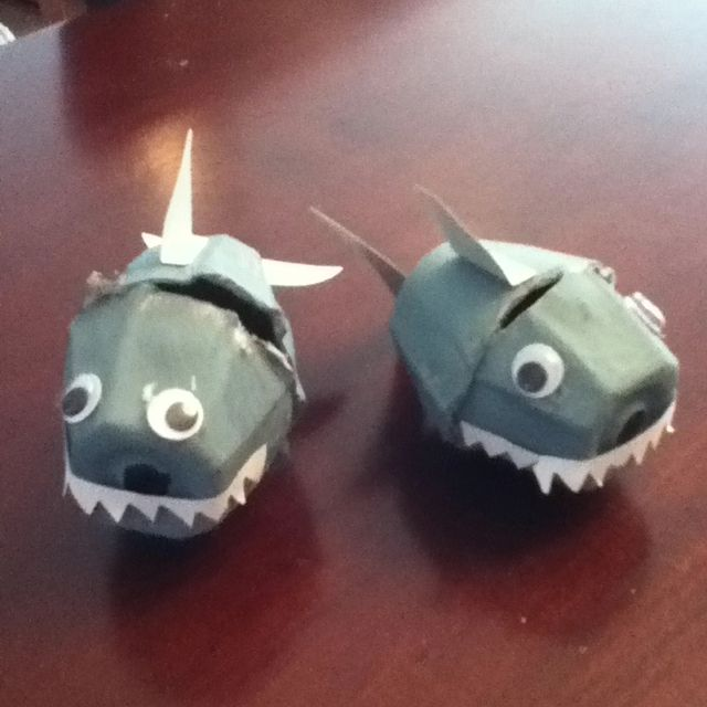 Cute and simple shark craft-just a photo, but looks easy enough. Egg cartons, googly eyes, white paper for teeth