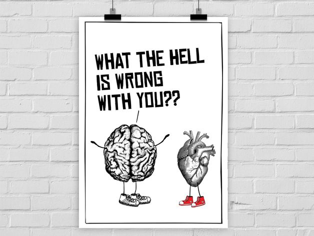 Originaldruck - Kunstdruck HEAD vs. HEART - ein Designerstück von PrintsEisenherz bei DaWanda