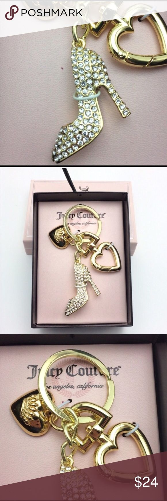 Juicy Couture high heel key fob/charm Gold tone heart shaped lobster clasp key fob. White rhinestone embellished heel and small 'Juicy' heart. Juicy Couture Jewelry