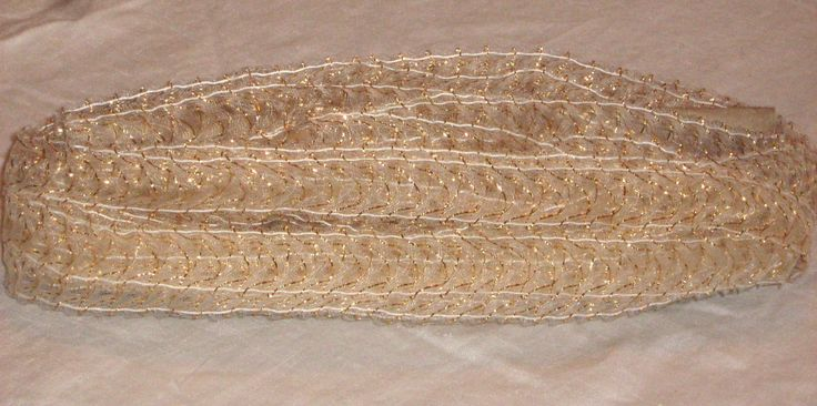 METALLIC FABRIC TRIM in Gold, White - Vintage Fabric 23 yd x 1 in  decorative for craft, bridal/special occasion - pinned by pin4etsy.com