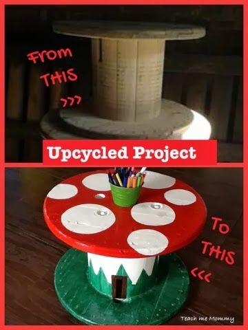 Upcycled Project: Toad stool Table - from @Teach Me Mommy