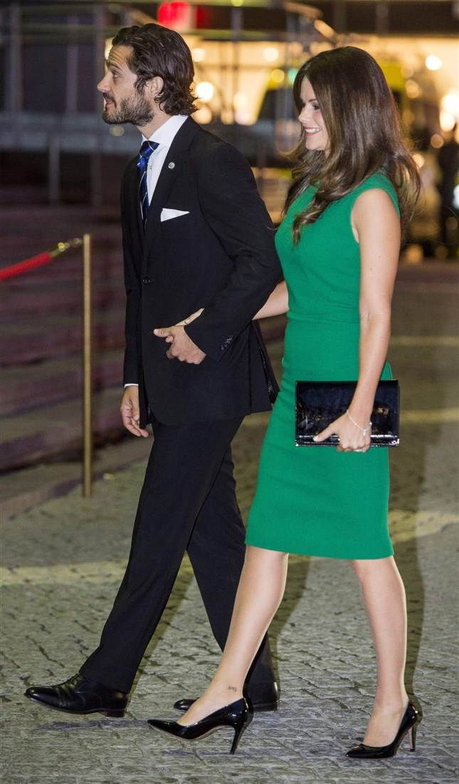 Prince Carl Philip and his fiance Sofia Hellqvist attends a concert at the Stockholm Concert Hall on 2014-09-30