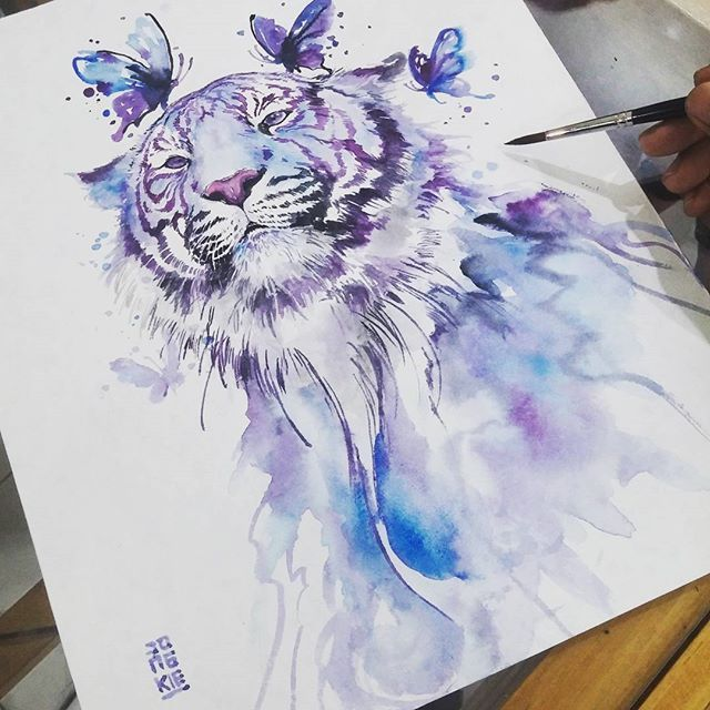 COLOR. WATERCOLOR. IDEA OF ANIMAL, A BIT MORE SIMPLE THOUGH