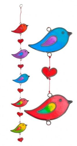 Colourful Glass Bird Suncatcher
