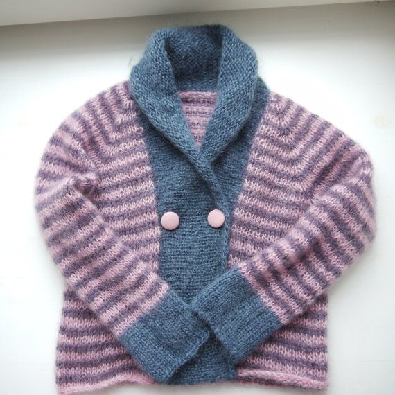 Hand Knitted Girls Sweater - Bubblegum Party Cardigan - seamless knit for children - size 2-4 years