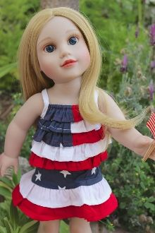 DOLL CLOTHES Red White Blue doll skirt set.  July 4. summer