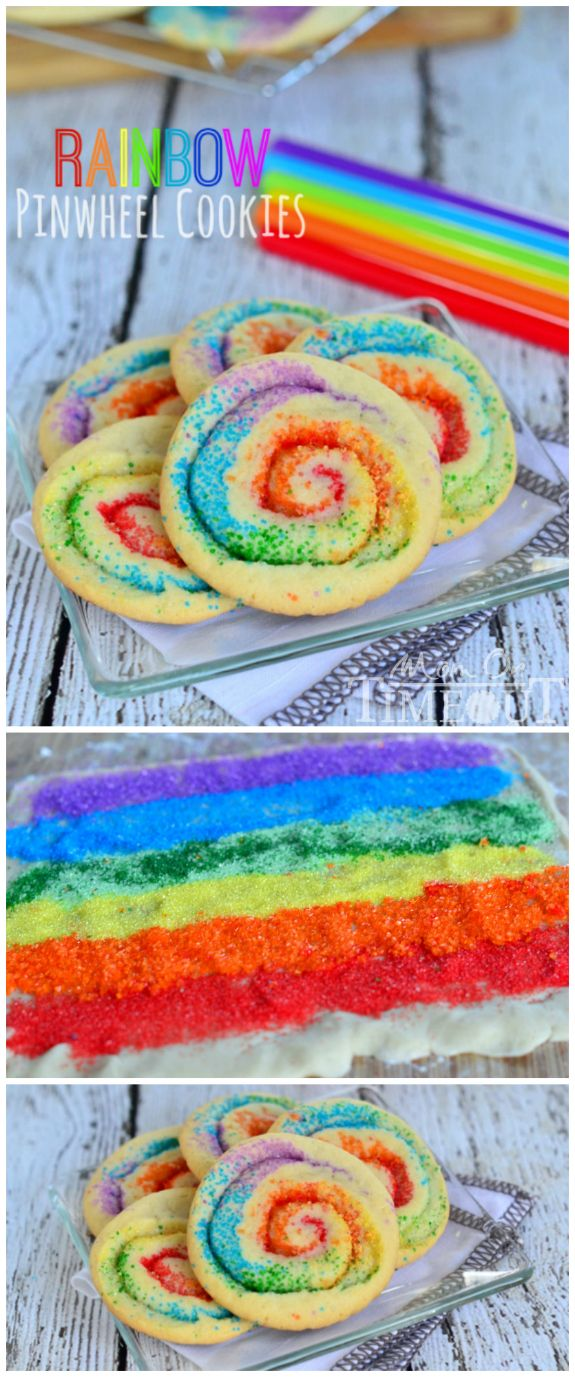 These gorgeous Rainbow Pinwheel Cookies are super easy to make and are so much fun!   MomOnTimeout.com