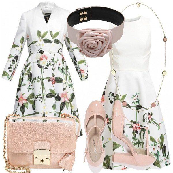 La tua migliore amica si sposa e per stare al suo fianco scegli un look prezioso e raffinato. Fiori ad arricchire un abito, soprabito coordinato e accessori in rosa a completare l'outfit.
