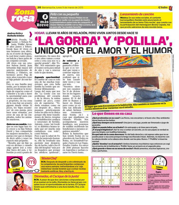 'La Gorda' y 'Polilla', unidos por el amor y el humor. Textos: Andrea Ortiz y Nathalia Gómez. Empresa: Q'hubo Barranquilla.