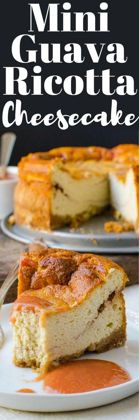 This easy recipe for Mini Guava Ricotta Cheesecake makes a delicious 6-inch dessert. Serve with guava puree for tropical treat!