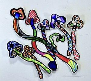 Mushrooms in imaginative textures