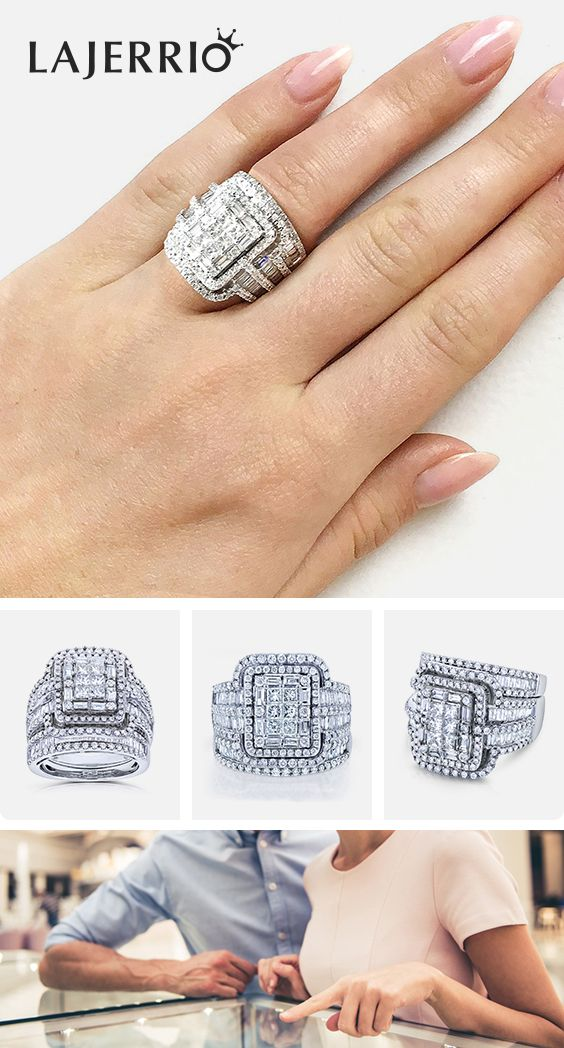 4079f872b Lajerrio Jewelry engravable #wedding #rings for her women's fashion # bridalsets engagement rings Valentine's