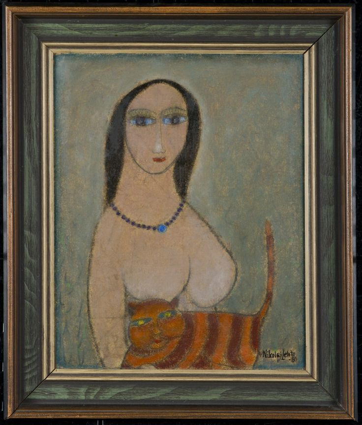 Nikolai Lehto: Nainen ja kissa, 1980, öljy, 32x25 cm - Hagelstam A126