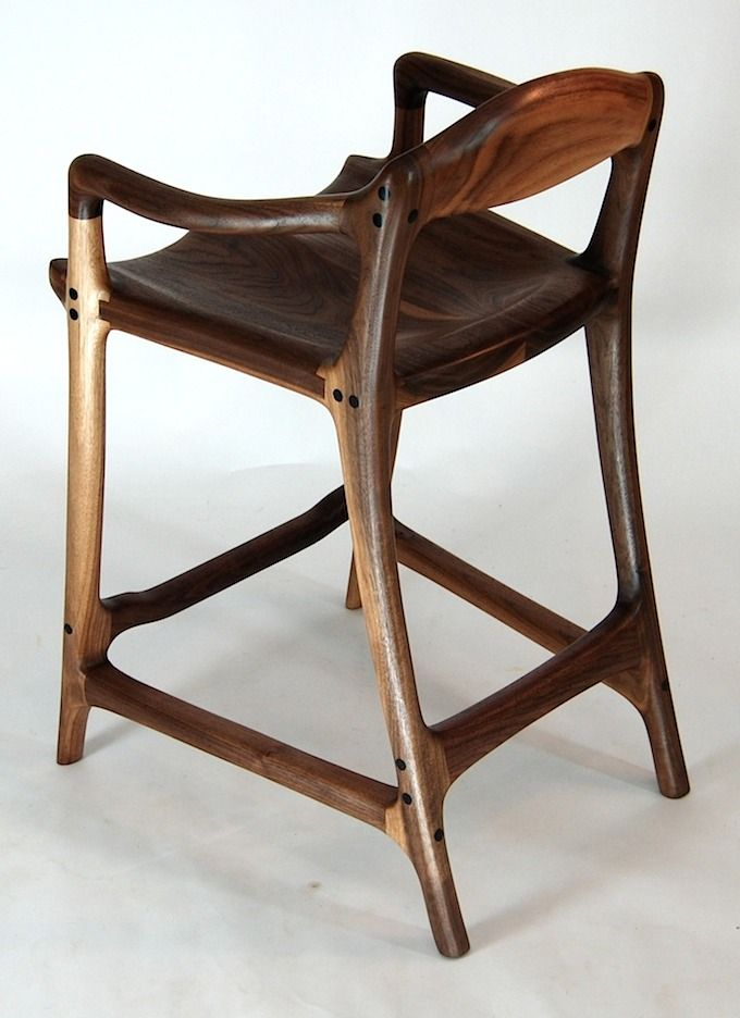 Sam Maloof inspired contempory walnut bar stool - built by Paul Lemiski of Canadian Woodworks -