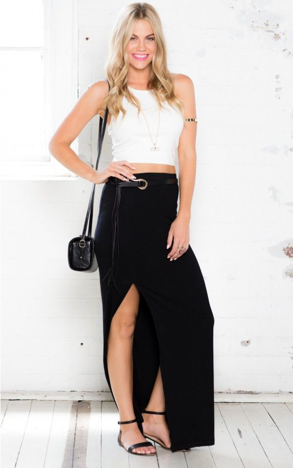 Walk Right By Maxi Skirt in Black $45. Everyone needs this transitional maxi skirt. The Walk Right By maxi skirt is simple yet sexy. The long thigh grazing slit is sure to be remembered.www.showpo.com #iloveshowpo