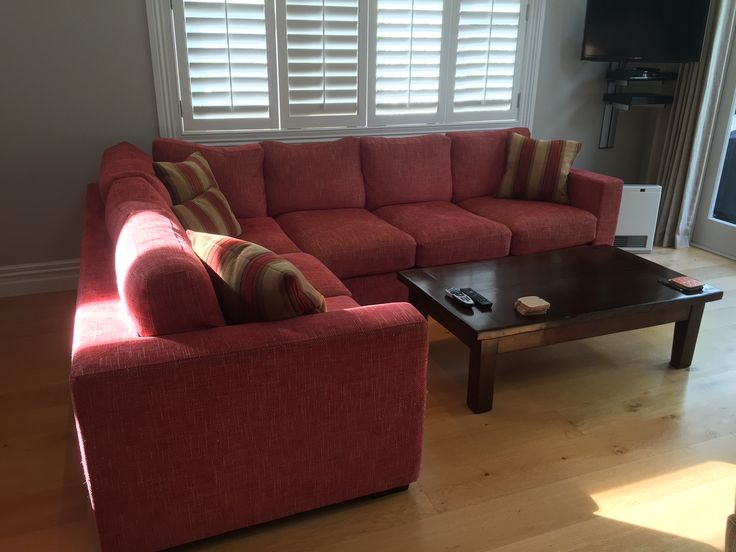 Sectional Sofa with Colefax and Fowler Stratford Red fabric.