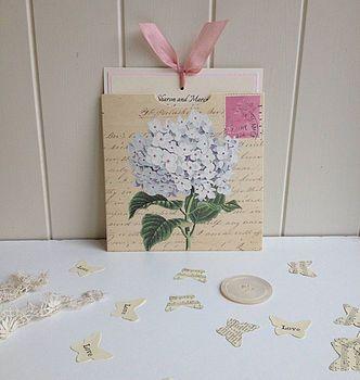 White Hydrangea Vintage Wedding Invitation