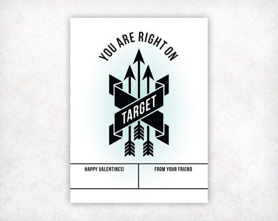 PRINTABLE Valentines for Kids, Arrow Valentine Card, Instant Download Boys Valentine Cards, You Are Right On Target Valentines Day Card on Etsy, $5.72 CAD
