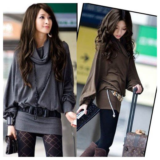 Womens Winter Fall Casual T-Shirt Tops Mini Dress Long Blouse Ruff Neckline Sexy