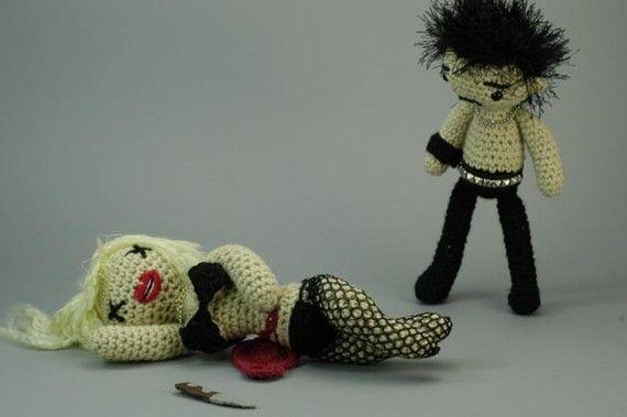 This is Great!   CUSTOM Sid and Nancy Antigurumi amigurumi set by croshame on Etsy, $95.00