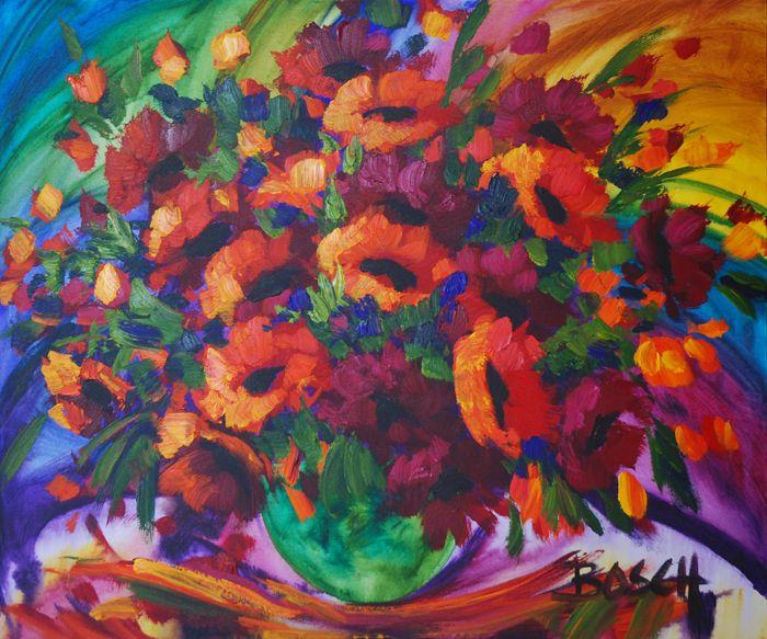 Cornelius-Bosch-Rooi-en-oranje-blomme.jpg ~ a joyful use of colour