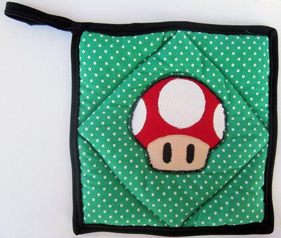 Super Mario Red Mushroom Applique on Green Polka Dot Pot Holder by OfflinePixels