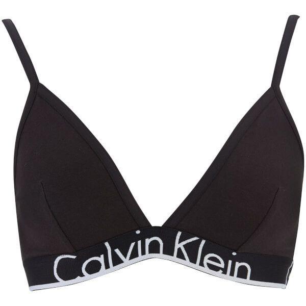 Calvin Klein Women's Thick Band Triangle Underlined Bra - Black (695 MXN) ❤ liked on Polyvore featuring intimates, bras, black, triangle bras, calvin klein and calvin klein bra