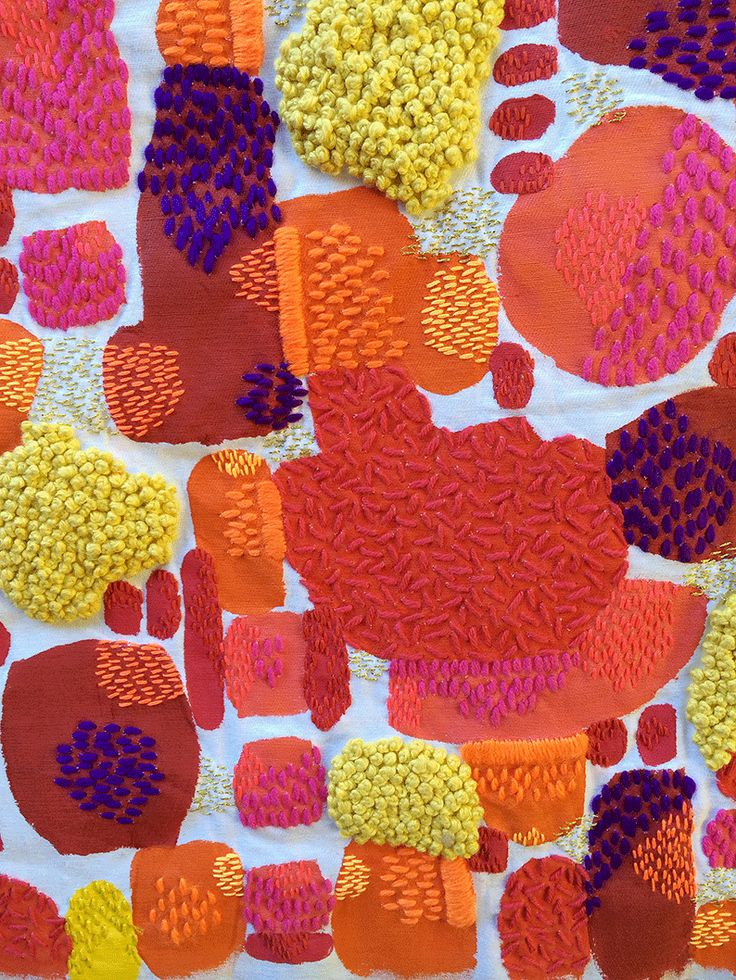 A hand painted and hand embroidered one of a kind artwork on fabric by Liz Payne - titled 'Embody' - detail