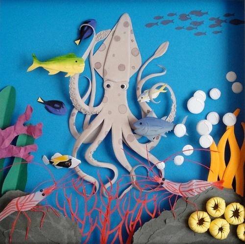under the sea life | paper art: Paper Cut, 3D Paper, Cheongahhwang, Paper Artwork, Cheong Ah Hwang, Paperart, Paper Sculptures, Cheongah Hwang, Paper Crafts