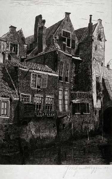 Dordrecht, oude huizen;ets;papier;27,8 x 19,5;gesigneerd r.o..jpg - Dordrecht, oude huizen