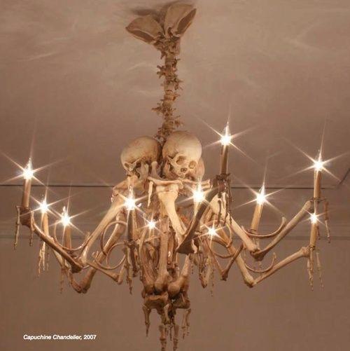 Capuchine Chandelier (2007), interior design, home decor, lighting, chandelier, morbid, macabre, skeletons, bones
