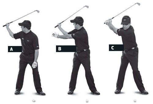 Your position at the top can set up a weak downswing. As you swing to the top, maintain space between your right hand and right ear, or you won't have enough room to swing down from the inside. This will also correctly move the top of your spine away from the ball. Solution: reach for it. Hold an iron with your right hand only, and swing to the top (A). Look to ensure that you have good width between your hand and your head (B). If you do, grip the club with your other hand (C). This is a…