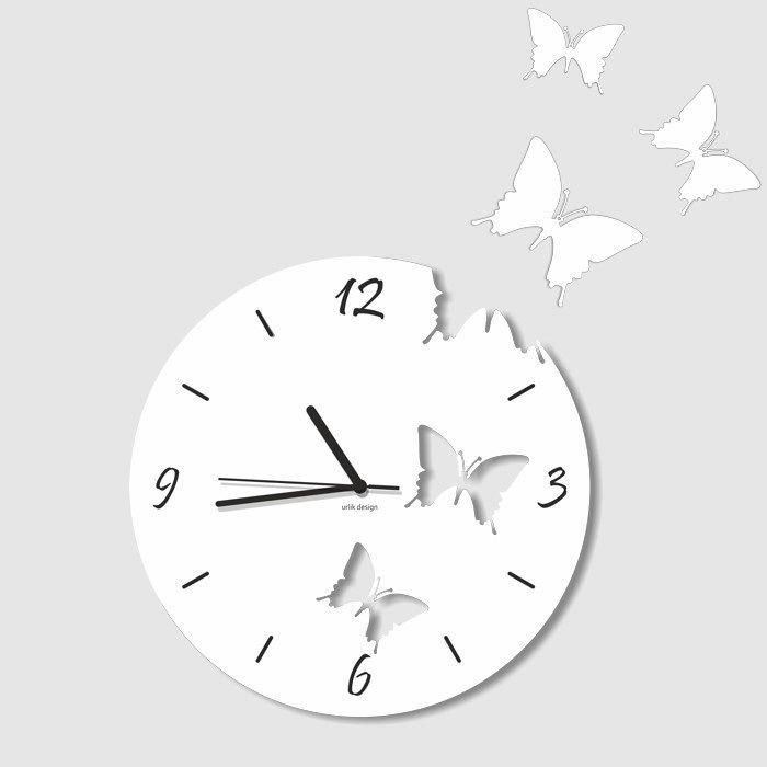 Dekoracyjny zegar ścienny Urlik Design Motyle, biały ◾ ◾ PrezentBox
