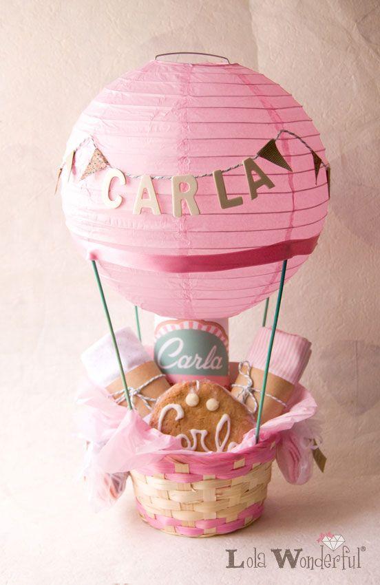 Lola Wonderful_Blog: Regalo personalizado para recién nacida: Cesta globo aerostático