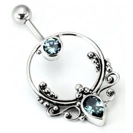 "14g 7/16"" Bali FRAME Sterling Silver Navel Belly Jewelry"