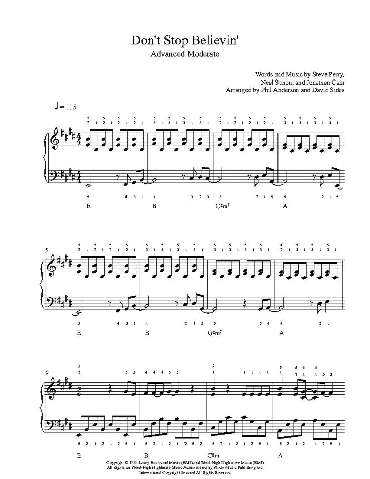 Don't Stop Believin' by Journey Piano Sheet Music   Advanced Level