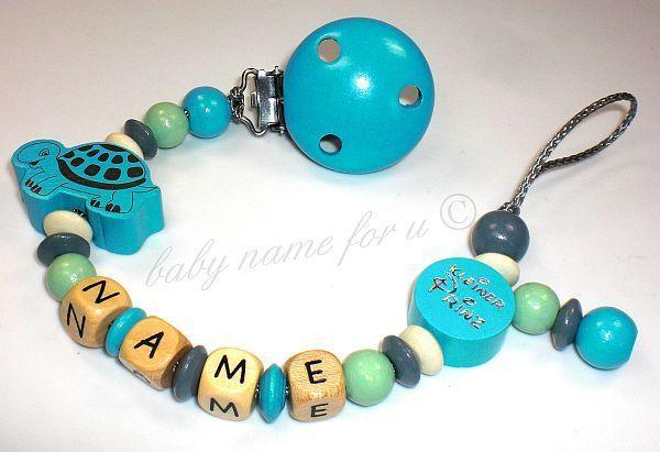 Schnullerkette mit Namen ♥  Schildkröte ♥ von baby name for u auf DaWanda.com