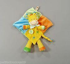 Doudou plat losange girafe multicolore Nicotoy 36 cm
