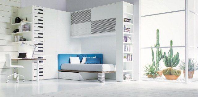 teenage boys room furniture design single bed desk wood panel floor lamp balcony