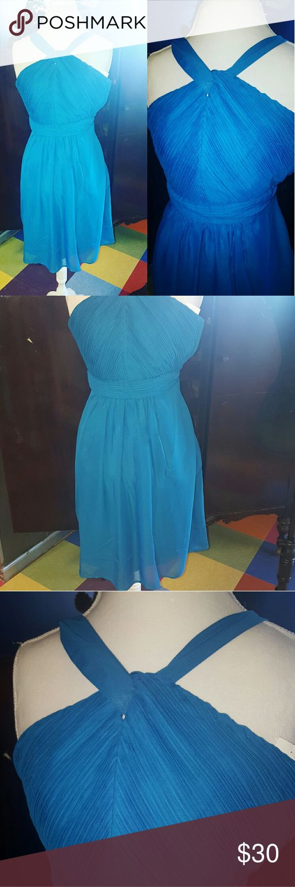 Tevolio royal blue halter cocktail dress nwt This dress is in perfect condition and beautiful. Perfect for a wedding or garden party tevolio Dresses