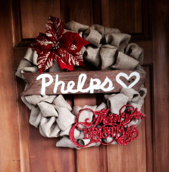 Custom Christmas Burlap Wreath by ABurlapBow on Etsy