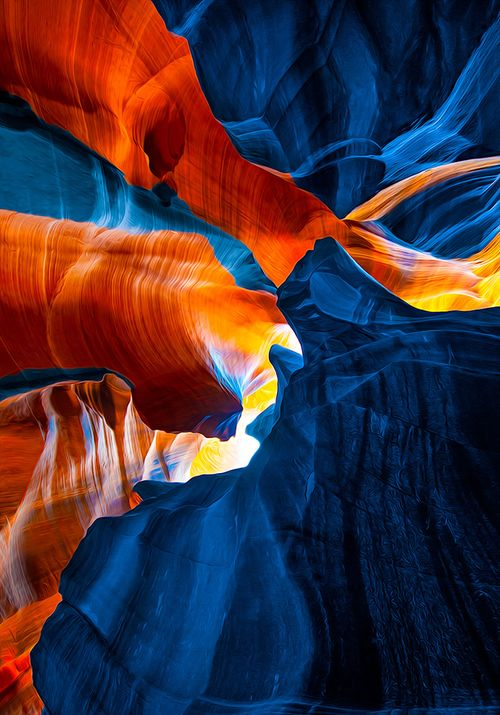 Antelope Canyon, ARIZONA.  Antelope Canyon is the most-visited and most-photographed slot canyon in the American Southwest. It is located on Navajo land near Page, Arizona