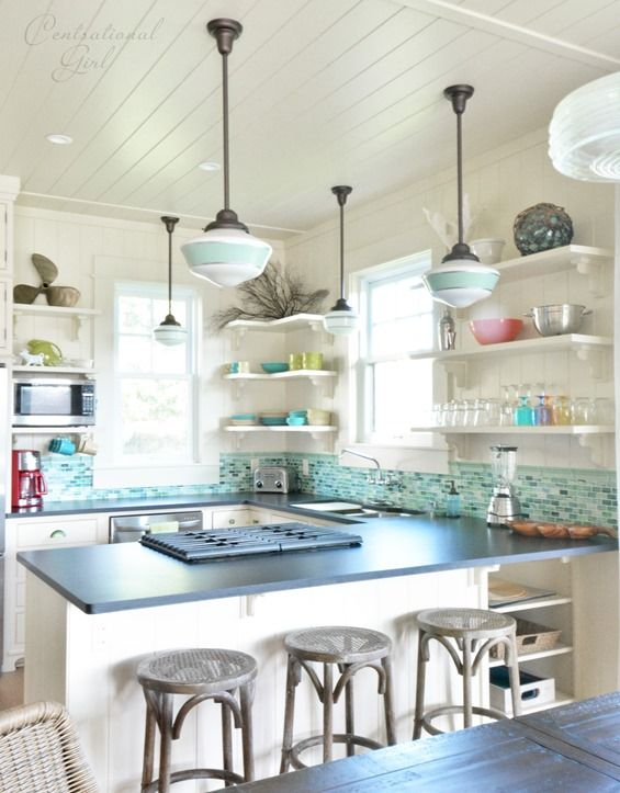 We need something other than fluorescent lighting in our kitchen!  Kauai vacation rental with coastal kitchen via Centsational Girl. #LGLimitlessDesign #Contest