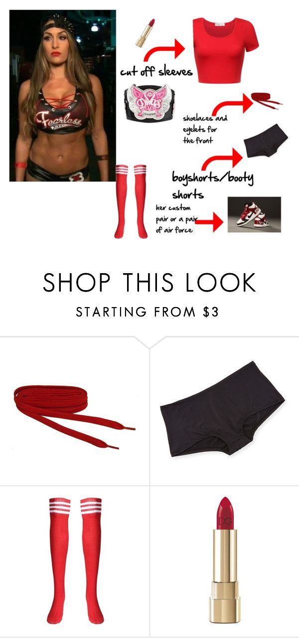 """DIY Nikki Bella Halloween Costume"" by lsd-and-halloweencandy ❤ liked on Polyvore featuring Cosabella, NIKE and Dolce&Gabbana"