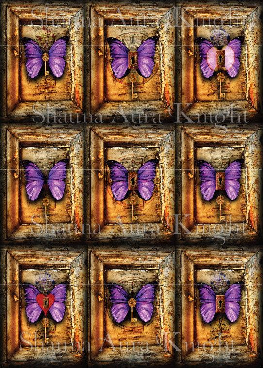 Purple Butterflies with Keys & Keyholes ATC by ShaunaAuraKnight