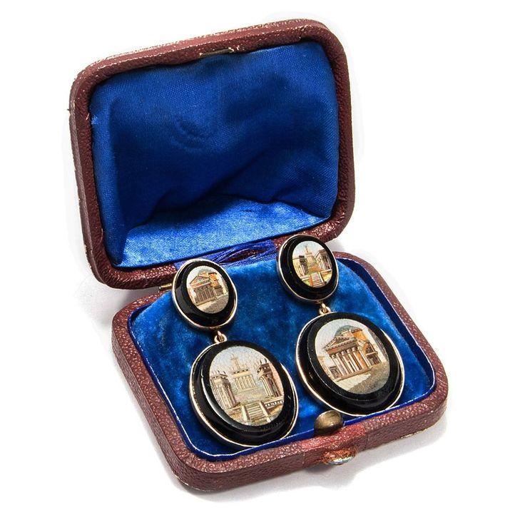 Mikromosaik Ohrringe aus Rom: Pantheon & Kapitol gefasst in Gold / micromosaic