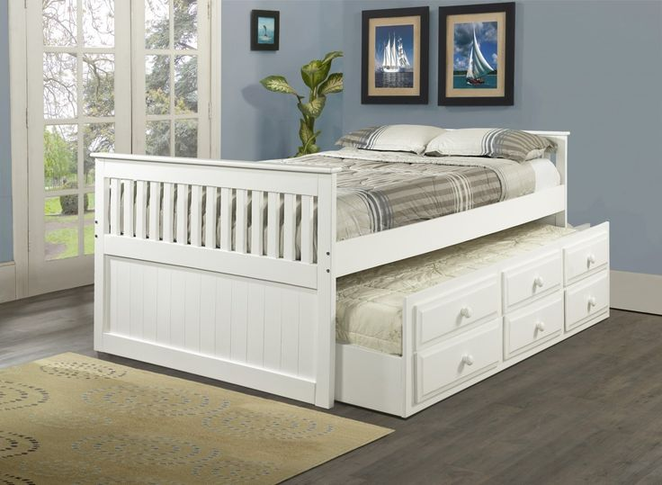 Maximize your space by adding this Full Captains Bed with 3 Underbed Storage Drawers Plus Trundle bed. The 100-percent solid pine construction and simple, but refined design make this trundle bed a wo